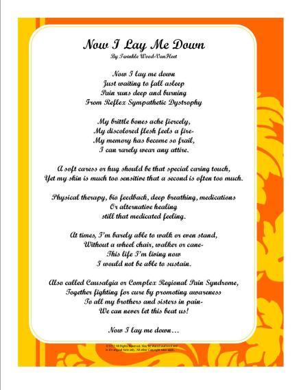 Poem Now I Lay Me Down by Twinkle Wood VanFleet